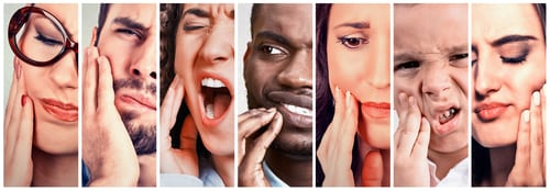 Collage of people with toothache pain