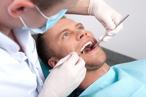 Patient undergoing a dental exam